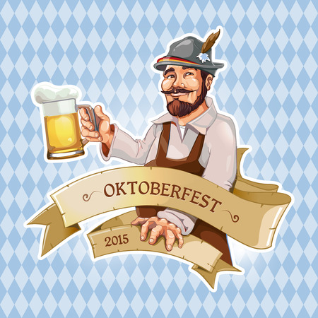 Funny cartoon Oktoberfest man standing with big beer mug in right hand. Vetores
