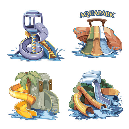 four pictures set of Water hills in an aqua park. illustrations isolate on white background