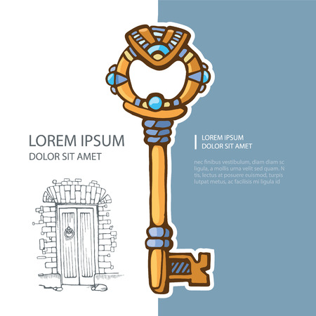 picture of ancient gold key with jewels. cover template with place for text. Vetores