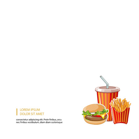 cold drink: fast food: burger, plastic glass with cold drink and French fries Illustration