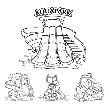 four pictures set of Water hills in an aqua park. illustrations isolate on white background Vector Illustration