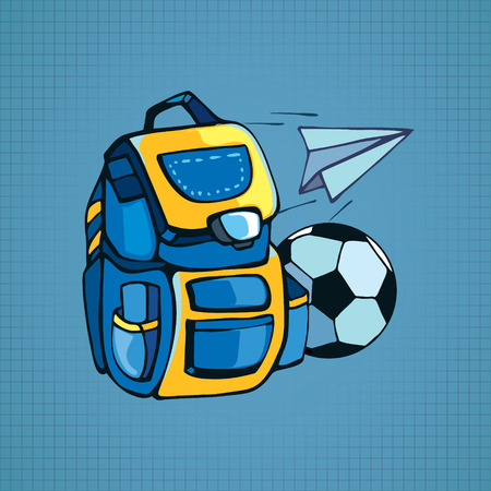highschool: Color picture with school bag, soccer-ball and paper plane isolate on blue background Illustration