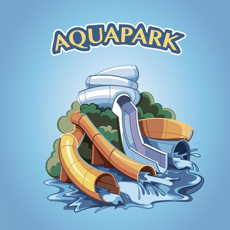 slide show: Four Water hills in an aqua park. Illustration