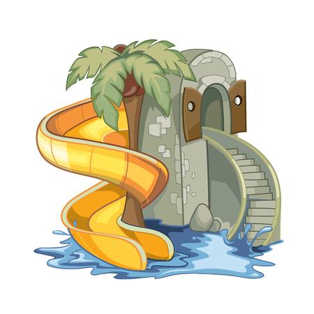 aqua park: screw yellow Water hill in an aqua park.