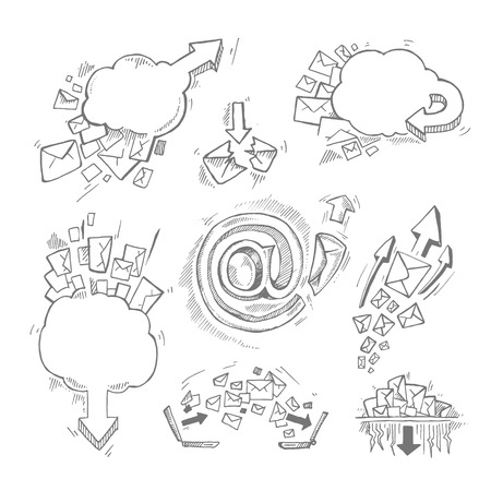 mail icon: Concept hand drawn pictures set with e-mail letters and arrows Illustration