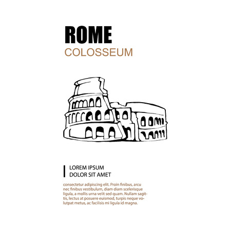 colosseum: Hand drawn illustration of Colosseum with place for text