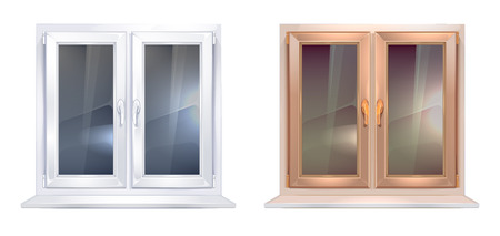 white window: realistic picture set of white and brown plastic windows isolate on white background