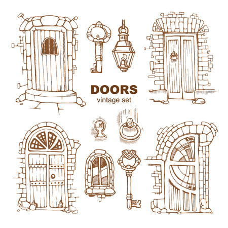 heads old building facade: Hand drawn set of ancient doors Illustration