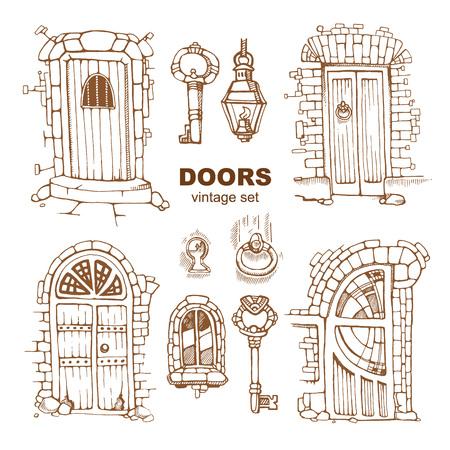 Hand getrokken set van oude deuren Vector Illustratie