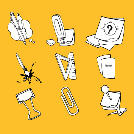 ellements: Back to School. Conceptual icons set with schooll ellements isolate on yellow background Illustration