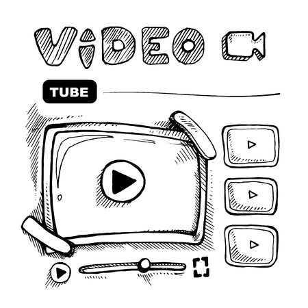 doodle wireframe of video player. Web page template. 向量圖像