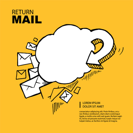 Hand drawn Concept picture with return of big e-mail letters in the yellow background.