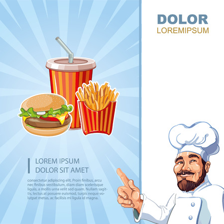 cold drink: fast food menu template with pictures of burger, plastic glass with cold drink, French fries Illustration