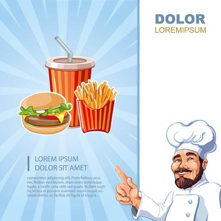 plantilla de menú de comida rápida con fotos de hamburguesa, vaso de plástico con bebida fría, papas a la francesa