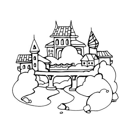 bridge hand: Retro urban landscape with ancient castle on the bridge. Hand drawn illustration