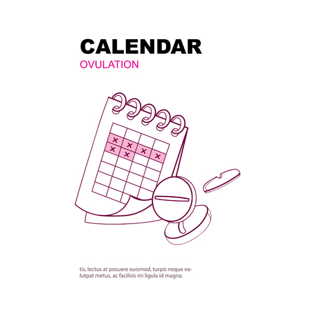 menstrual: Ovulation calendar with marks menstrual days. Background picture with place for text