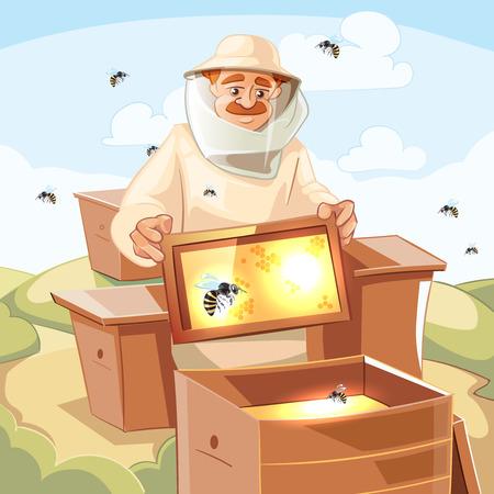 Bijenstal vector illustraties. Bijenstal achtergrond foto met bijen, honing, honingraat en Man imker in speciaal kostuum.