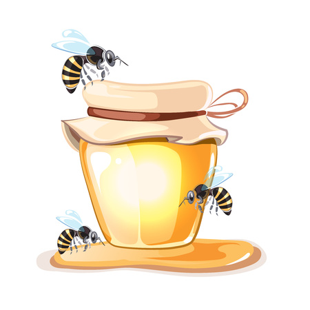 illustrations vectorielles Rucher. images Rucher fixés avec des abeilles, le miel et la Banque de miel isoler sur fond blanc