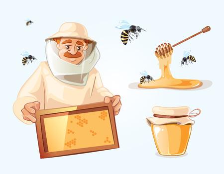 Bijenstal vector illustraties. Bijenstal foto's instellen met bijen, honing, honingraat en Man imker in speciaal kostuum. Bank met honing.