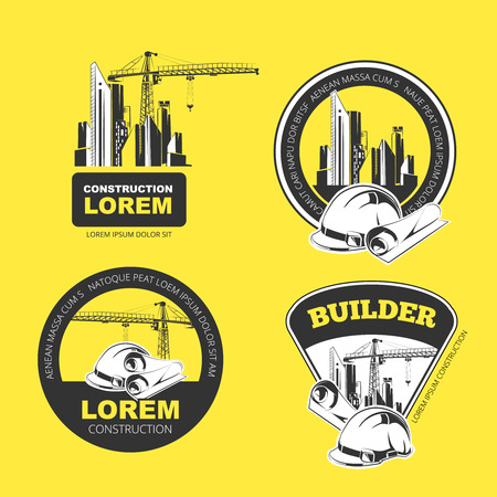 yelow: Color construction company logo, labels and badges. Vector vintage collection