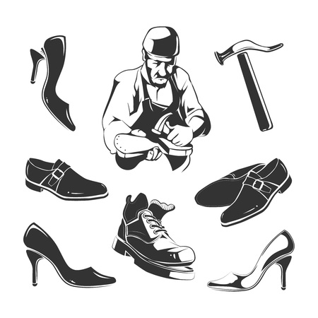 cobbler: Vector elements for vintage labels of shoes repair
