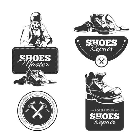 Vector Vintage etiketten set schoenen reparatie