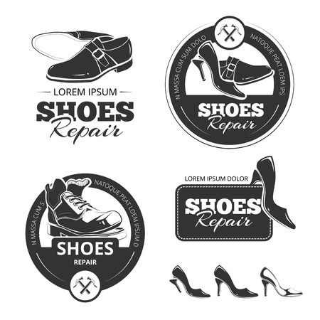 cobbler: Vector vintage labels set of shoes repair