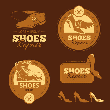 shoe repair: Vector vintage color labels set of shoes repair