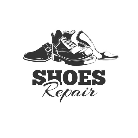 cobbler: vintage emblem of demaged shoes. Logo template with place for your text. you can try this to your design projects