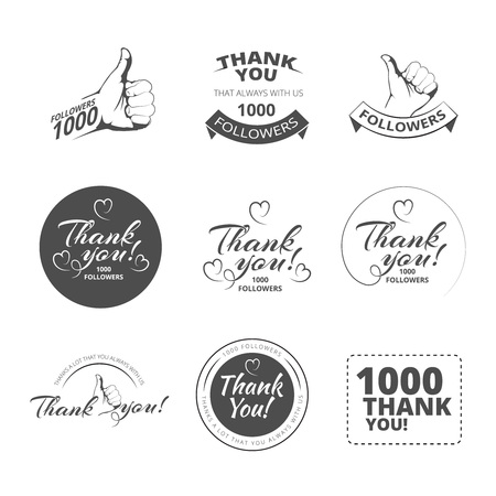 follower: Monochrome Set of vintage Thank you badges, labels and stickers. Isolate on white background