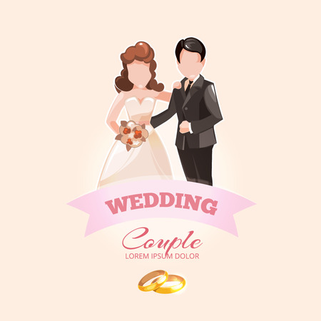 wedding rings: Wedding couples vector label with pink ribbon and wedding rings. Theme for Wedding logotype with place for your text.
