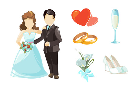 rad: Wedding couples vector illustration. European Wedding couples isolated on white background. Weddings ellements set of wedding rings, rad hearts, wedding white shoes