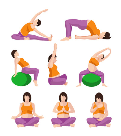 planking: Vector pictures set of Pregnant Woman Exercises. Pregnant Yoga. Planking Or Stretching (some with Exercise Balance Ball)