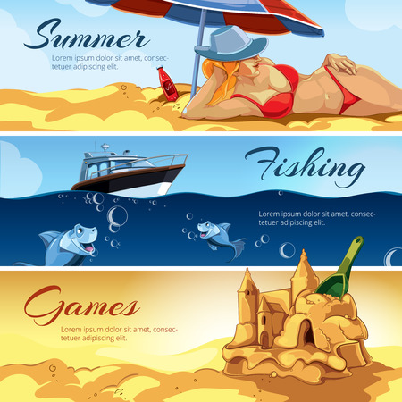 bathing suit: vector horizontal banners with pictures of summer rest. Girl a red bathing suit sunbathes on the beach. rest on the yacht. Sea fishing. Blue small fishes. Sand castles