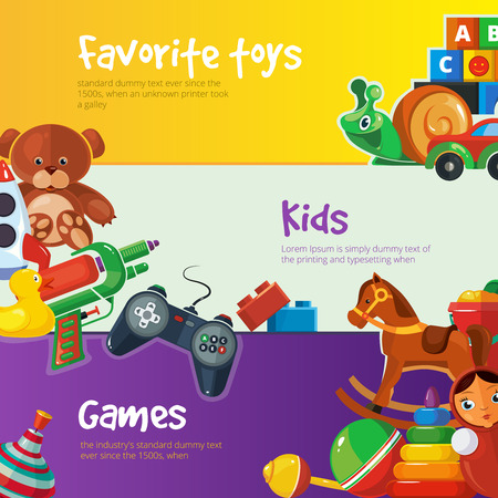 top gun: Toys icons for kids isolate on color background. Toys vector illustrations pack. Cartoon toys set for web banners with place for your text. Illustration