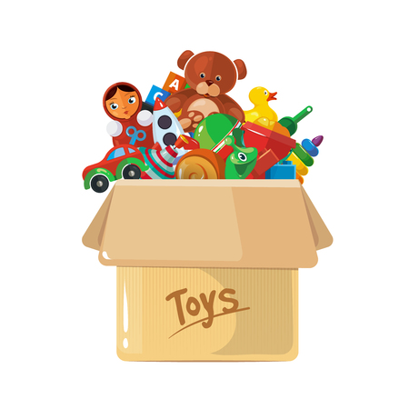 Vector illustration of cardboard box for children toys. Picture of toys isolate on white background.