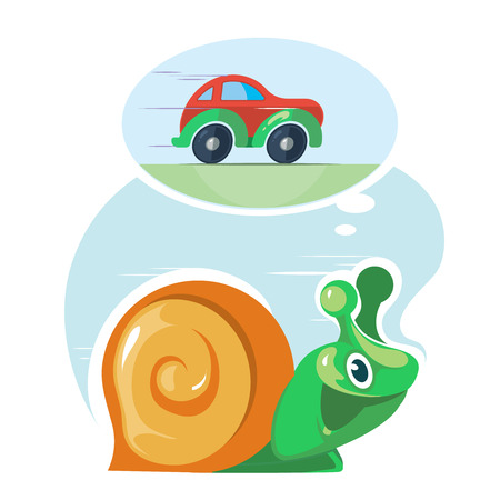 haste: Fast speedy snail dreams to move as the cars. Moving quickly. Success, haste, speed, efficiency, performance and creativity concept. Vector illustration on light background Illustration