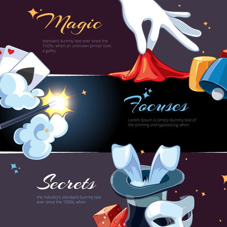 ellements: Magic illustrations for template of web banners. Cartoon vector pictures of magic ellements. Advertizing with place for your text is decorated with magic pictures