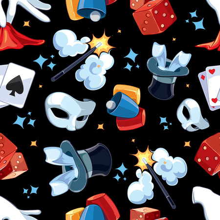 ellements: Seamless pattern with Magic illsutrations. Cartoon vector pictures of magic ellements isolate on dark background Illustration