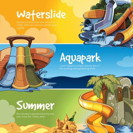 water slide: Set of Water slide in an aquapark. Vector illustrations. Web banners of Water slide