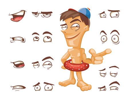 cartoon emotions: Cartoon nude man with circle for swimming standing and pointing. Cartoon man with different expressions. Vector clip art illustration.