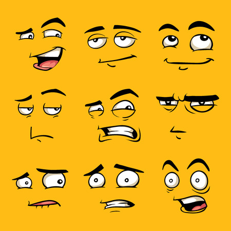 gleeful: Funny cartoon faces with emotions. Vector clip art illustration.