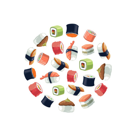 kobe: Sushi rolls flat food and  japanese seafood sushi rolls. Sushi rolls traditional seaweed fresh raw food. background vector picture of round shape