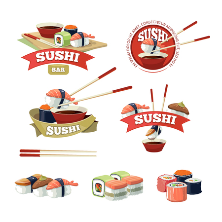 dinner food: Vector set with sushi banners, sushi icons, and sushi illustrations isolate on light background. Illustration