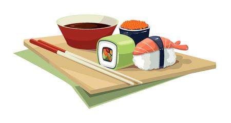kobe: Cartoon Vector illustration of Sushi rolls flat food and  japanese seafood sushi rolls. Sushi rolls traditional seaweed fresh raw food. Illustration