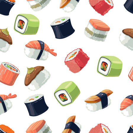 Seamless Pattern with Vector picture set of Sushi rolls food and japanese sea food. Sushi illustration set with flat color. Sushi icons isolate on light background