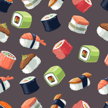 kobe: Seamless Pattern with Vector picture set of Sushi rolls food and japanese sea food. Sushi illustration set with flat color. Sushi icons isolate on dark background Illustration