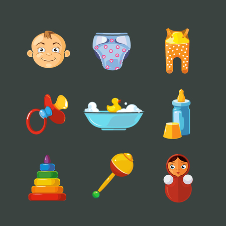 romper suit: Vector pistures of Toys icons set isolate on dark background.  Funny cartoon Toys icons for kids.