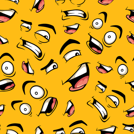 smirk: seamless pattern with funny cartoon emotions isolate on color background