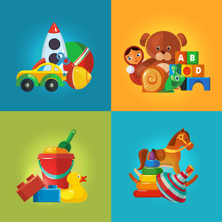 top gun: Toys icons for kids isolate on color background. Toys vector illustrations pack. Cartoon toys set Illustration